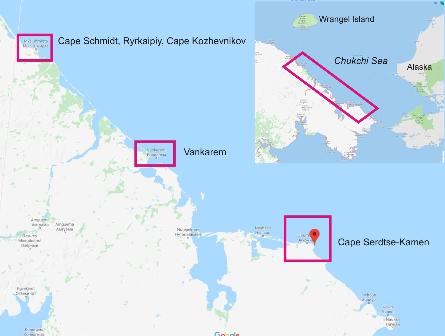Chukotka walrus haulouts map with inset