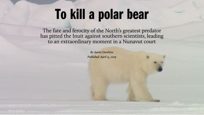 Macleans to kill a polar bear headline 21 April 2019