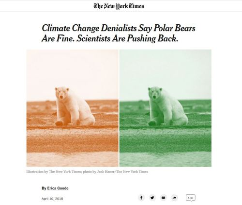 New York Times_10 April 2018_Headline Climate Change Denialists Say Polar Bears Are Fine