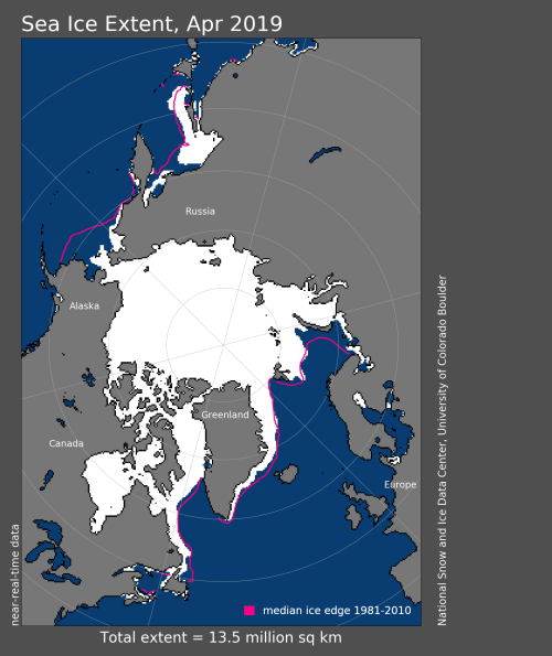 Sea ice extent 2019 April average_NSIDC
