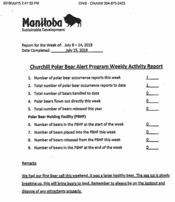 Churchill problem bears_week 1_2019 July 8-14