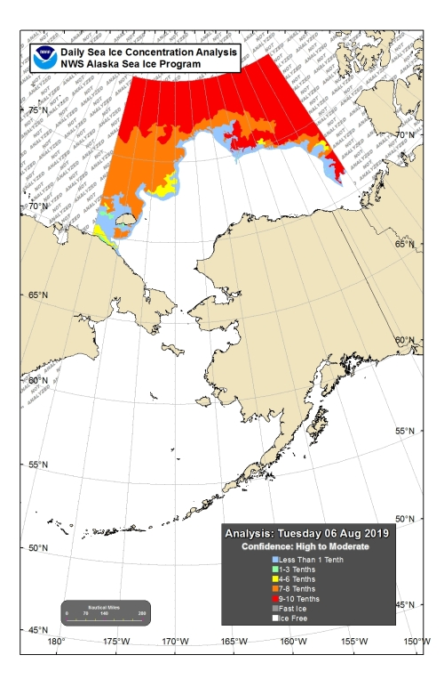 Bering Chukchi sea ice concentration NOAA NWS_6 Aug 2019 with legend