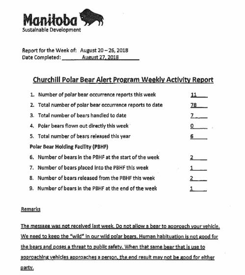 Churchill PB reports_week 7_ Aug 20-26 2018