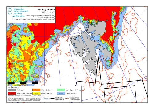 Svalbard ice extent 2019 Aug 9_NIS
