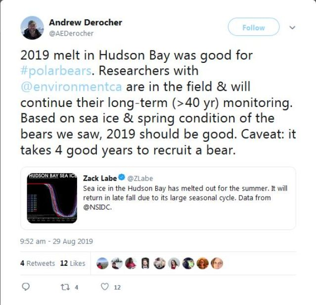 Derocher 2019 Hudson Bay melt season good for pbs_but need 4 good years_29 Aug