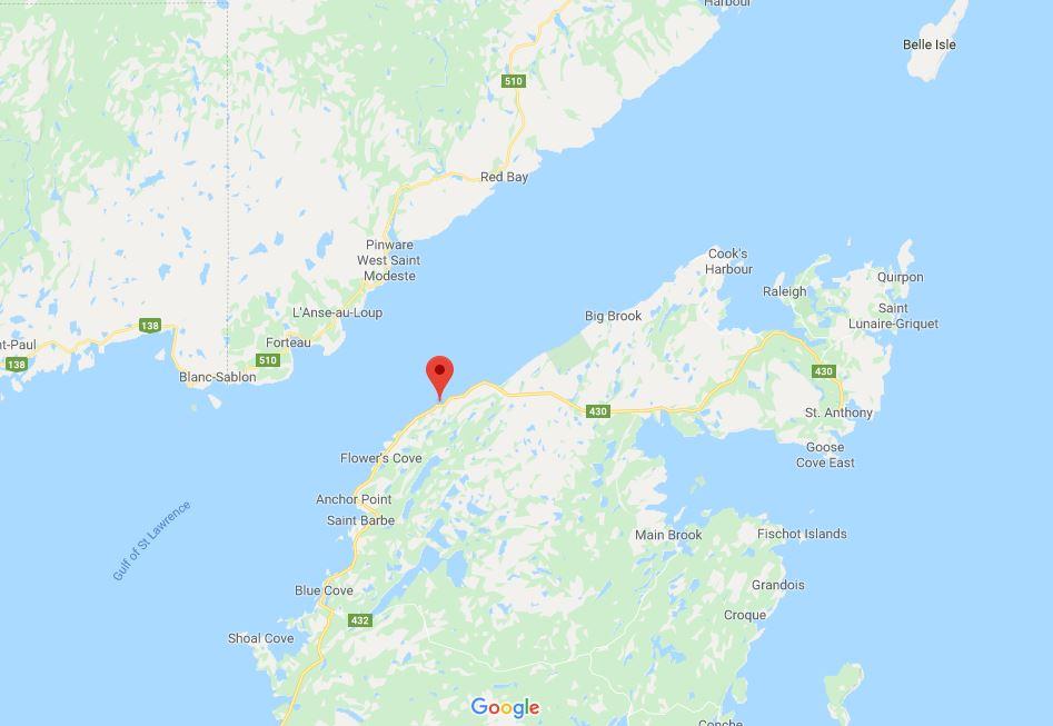 Green Island Cove Newfoundland map Google
