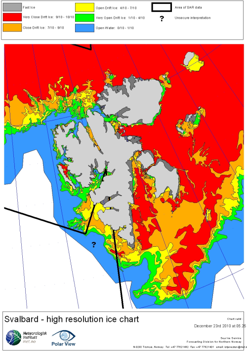 Svalbard ice extent 2010 Dec 23_NIS archive