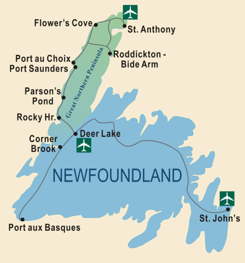 Newfoundland Great Northern Peninsula map