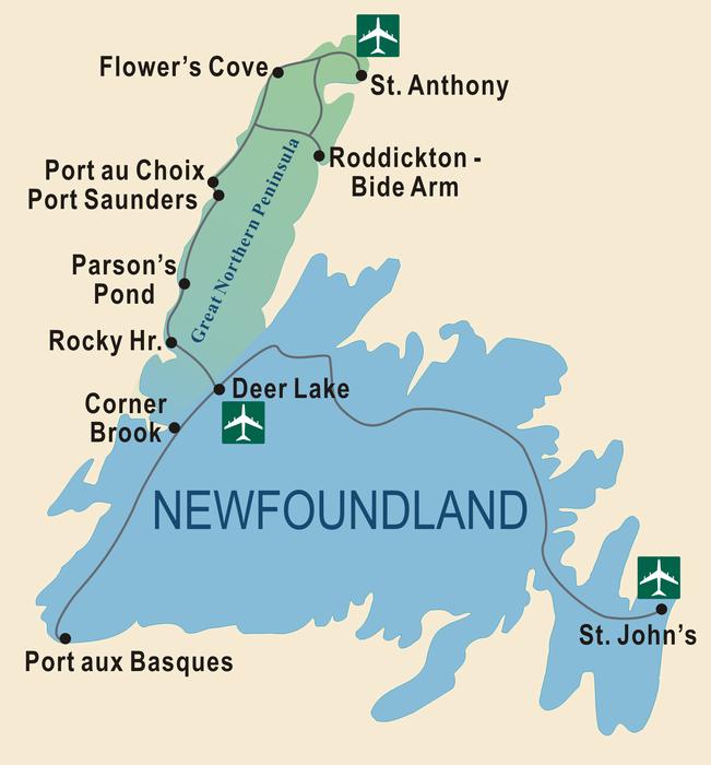 Newfoundland Great Northern Peninsula map