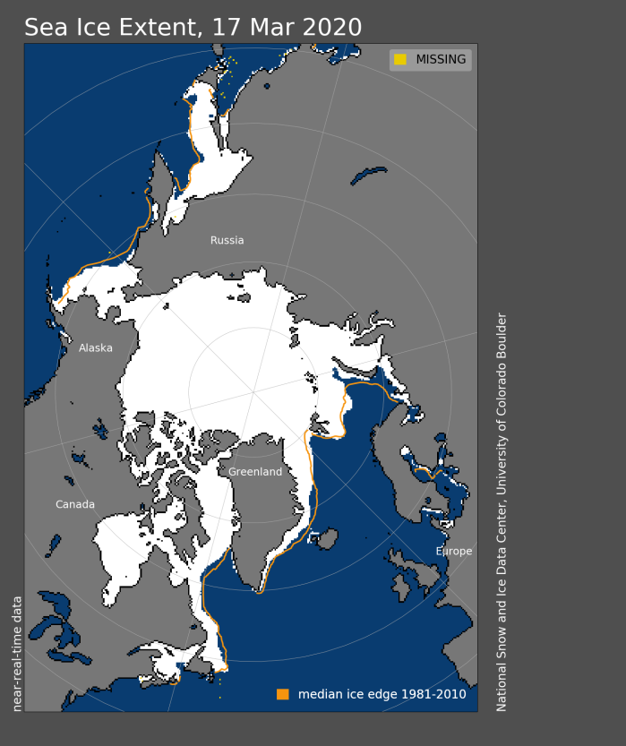 Sea ice extent 2020 March 17 NSIDC
