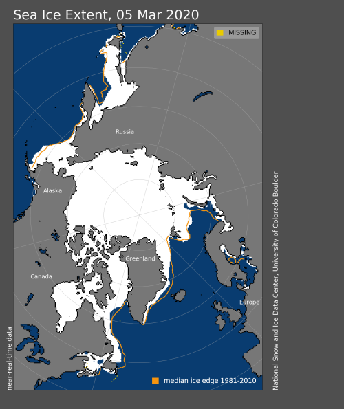 Sea ice extent 2020 March 5_sea ice maximum called_15 point 05 mkm2 NSIDC 24 March