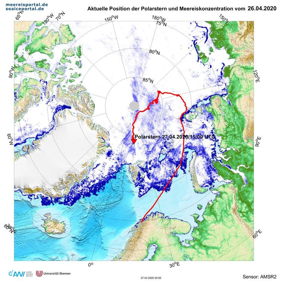 Polarstern 2020 location as of April 27 to the North of Svalbard_Graphic_courtesy of AWI
