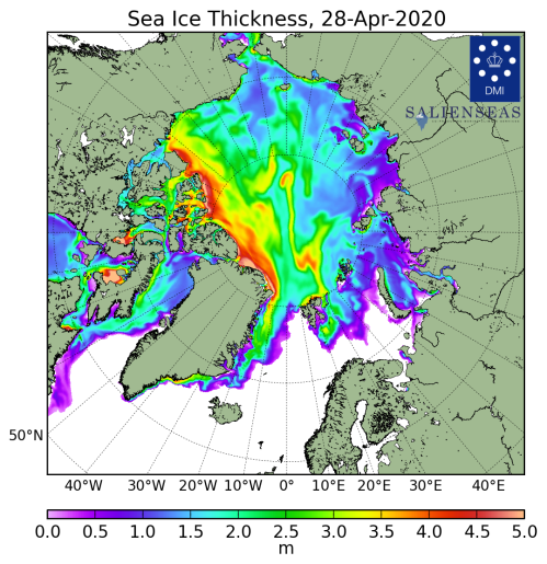 Sea ice thickness_DMI_2020_04_28_lg