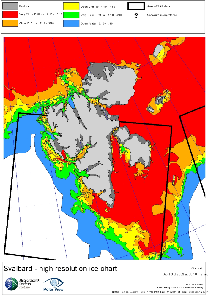 Svalbard ice extent 2009 April 3_NIS archive