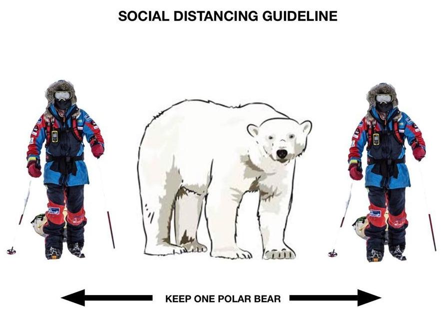 Svalbard social distancing_keep one polar bear away_icepeople 3 April 2020