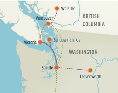Victoria to Seattle by Clipper map