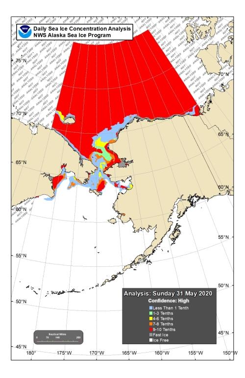 Chukchi Bering sea ice 2020 May 31 concentration lg