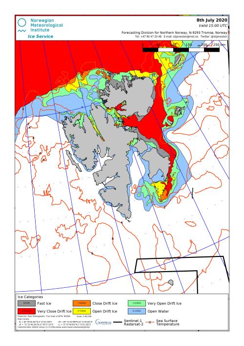 Svalbard ice extent 2020 July 8_NIS