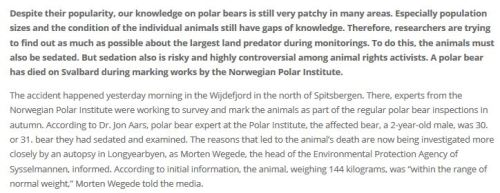 Svalbard TEXT 1 polar bear male dies during marking research_11 Sept 2020